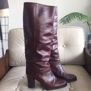 Vintage burgundy leather boots from the 1970's